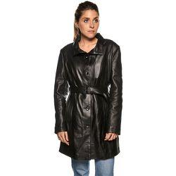 Manteau long avec ceinture cuir agneau - TASSA PARIS - Modalova