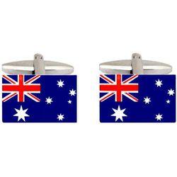 Boutons de manchette en acier rhodié DRAPEAU AUSTRALIEN - CRAVATE AVENUE SIGNATURE - Modalova