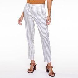 Pantalon cigarette rayé en lin coton stretch - CHEMINS BLANCS - Modalova