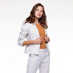 Veste rayée en lin coton stretch - CHEMINS BLANCS - Modalova