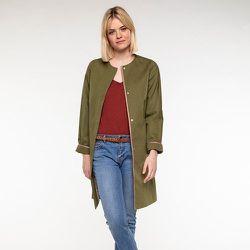 Manteau long sans col en coton et lin - TRENCH AND COAT - Modalova