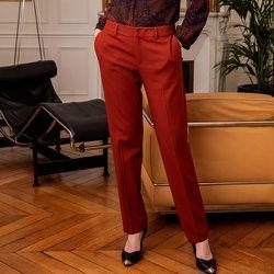 Pantalon cigarette en laine mélangée stretch - CHEMINS BLANCS - Modalova