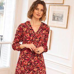 Robe courte à l'imprimé floral graphique - CHEMINS BLANCS - Modalova