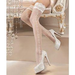 Bas-autofixants en lycra motif floral 20d 119 - Ballerina - Modalova
