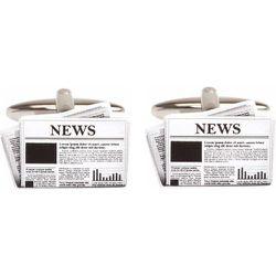Boutons de manchette en acier rhodié JOURNAL - CRAVATE AVENUE SIGNATURE - Modalova