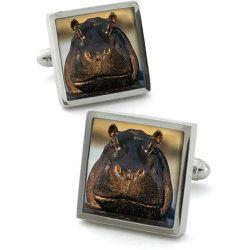 Boutons de manchette en acier rhodié HIPPO - ROBERT CHARLES - Modalova