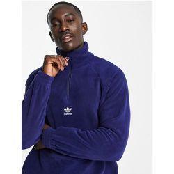 Adicolor - Polaire à fermeture éclair 1/4 avec logo central - Bleu - adidas Originals - Modalova