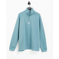 Sweat-shirt à fermeture éclair 1/4 avec logo trèfle - émeraude - adidas Originals - Modalova