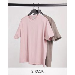 Lot de 2t-shirts oversize coupe carrée - Mauve et marron cendré - Another Influence - Modalova