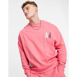 ASOS - Actual - Sweat-shirt d'ensemble oversize avec empiècement effet coupé-cousu et écussons logo tissés - ASOS Actual - Modalova
