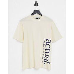 T-shirt style décontracté en coton gaufré léger avec logo imprimé - Écru - ASOS Actual - Modalova