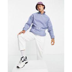 Sweat-shirt oversize en polaire avec fermi-fermeture éclair et broderie sur le devant et au dos - Bleu - ASOS Dark Future - Modalova