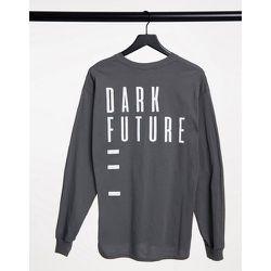 T-shirt à manches longues imprimé au dos - Gris - ASOS Dark Future - Modalova