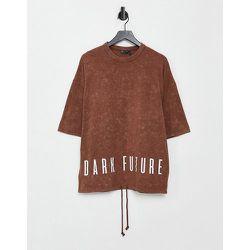 T-shirt oversize avec cordon de serrage et imprimé au dos - ASOS Dark Future - Modalova