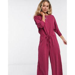 Combinaison confort casual en jersey flammé à taille nouée - Bordeaux - ASOS DESIGN - Modalova