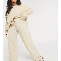 ASOS DESIGN Curve - Pantalon d'ensemble large en tricot avec cordon de serrage à la taille - Fauve - ASOS Curve - Modalova