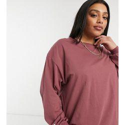 ASOS DESIGN Curve - T-shirt oversize à manches longues avec détail aux poignets - Bordeaux - ASOS Curve - Modalova
