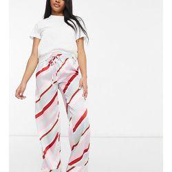 ASOS DESIGN Petite - Mix & Match - Pantalon de pyjama en satin à rayures pastel - ASOS Petite - Modalova