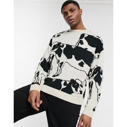 Pull oversize en maille à motif vache - ASOS DESIGN - Modalova