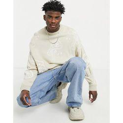 Pull oversize en tricot à motif champignons - Beige - ASOS DESIGN - Modalova