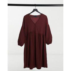 Robe chemise babydoll mi-longue texturée oversize - Bordeaux - ASOS DESIGN - Modalova