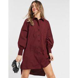 Robe chemise boyfriend courte oversize - Bordeaux - ASOS DESIGN - Modalova
