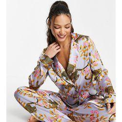 ASOS DESIGN - Tall - Exclusivité - Ensemble de pyjama en satin à imprimé léopard et botanique - Lilas - ASOS Tall - Modalova