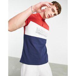 Polo effet colour block avec grand logo - Bleu marine/rouge/blanc - Barbour International - Modalova