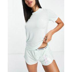 CK One - Ensemble t-shirt et short à logo en tissu recyclé - Aigue-marine - Calvin Klein - Modalova