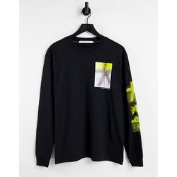 T-shirt manches longues à imprimé palmier - Calvin Klein Jeans - Modalova