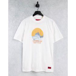 Caterpillar - T-shirt de travail avec imprimé montagne circulaire - Crème - Cat Footwear - Modalova