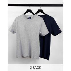 Lot de 2 t-shirts à petit logo - Bleu et gris - Champion - Modalova