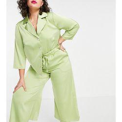 Pantalon ample décontractée d'ensemble en satin - Citron - Fashion Union Plus - Modalova