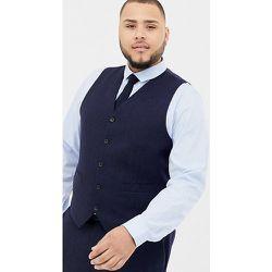 Plus - Veston de costume slim en laine mélangée à chevrons - Bleu - Gianni Feraud - Modalova