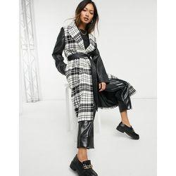 Manteau en laine mélangée à carreaux avec manches contrastantes en PU - Helene Berman - Modalova