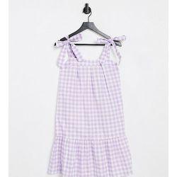 Robe courte avec bretelles nouées - Vichy lilas - Influence Tall - Modalova