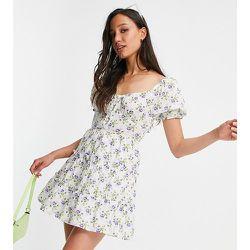 Robe en popeline de coton - Blanc fleuri - Influence Tall - Modalova
