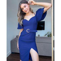 Robe fourreau ceinturée à manches bouffantes, fente et épaules dénudées - Bleu - Little Mistress - Modalova