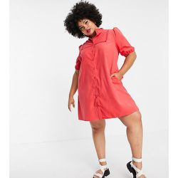 Lola May Plus - Robe chemise courte à manches bouffantes - Lola May Curve - Modalova