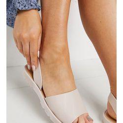 Sandales souples pointure large avec bride arrière - Beige - London Rebel - Modalova
