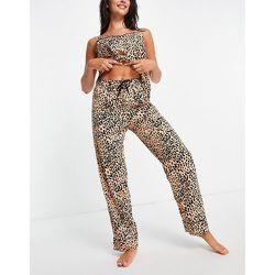 Bas de pyjama tissé à pois - Pêche et noir - Loungeable - Modalova