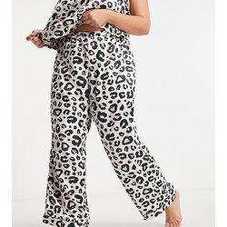 Curve - Pantalon de pyjama en satin motif léopard - Loungeable - Modalova
