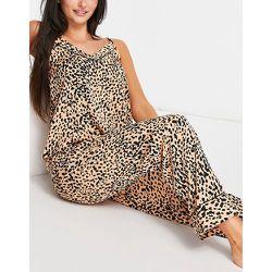 Haut de pyjama à bretelles fines et motif pois - Pêche et noir - Loungeable - Modalova