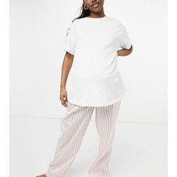 Pantalon de pyjama de maternité rayé en satin - Crème - Loungeable - Modalova