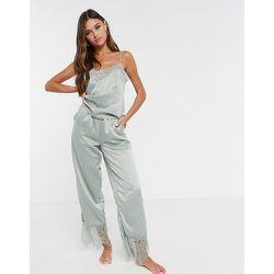 Pantalon de pyjama en dentelle et satin - sauge - Loungeable - Modalova