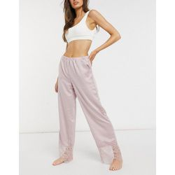 Pantalon en dentelle satinée - blush - Loungeable - Modalova
