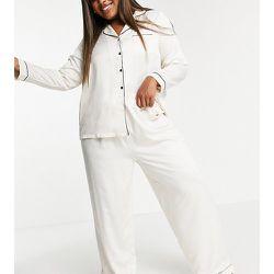 Plus - Mix and match - Pantalon de pyjama en satin avec passepoils noirs - Crème - Loungeable - Modalova