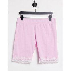 Short legging confort en maille pointelle et à bordure en dentelle - lavande - Loungeable - Modalova