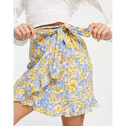 Mini-jupe portefeuille à fleurs - Mango - Modalova