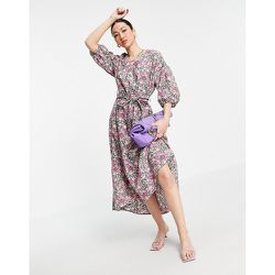 Robe en popeline mi-longue à fleurs - Mango - Modalova